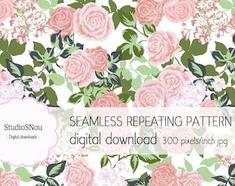 Romantic rose garden seamless pattern