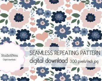 Nordic love flowers seamless repeat pattern