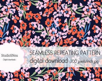 Asian flowers seamless pattern download