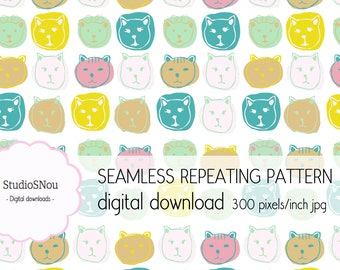 Cat faces seamless repeat pattern