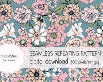 Blue pastel garden seamless pattern