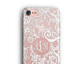 iPhone 8 Plus Case, iPhone X Case, iPhone 7 Case, iPhone 8 Case, iPhone 6, Monogram Case, Floral Lace, Galaxy S8 Case, Samsung Galaxy Case
