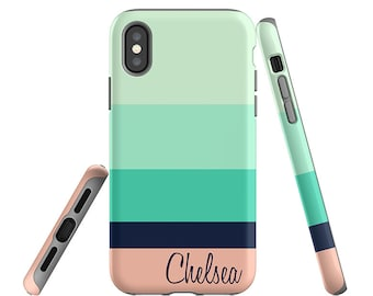 iPhone 7 Case, Samsung Galaxy S8 Case, Mint Stripes, iPhone 8 Case, iPhone 7 Plus Case, Personalized, iPhone 8 Plus Case, Summer Colors