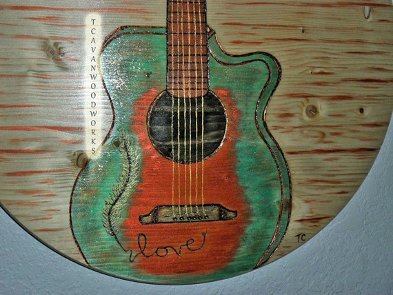 Acoustic Guitar Painting Wood Art Love