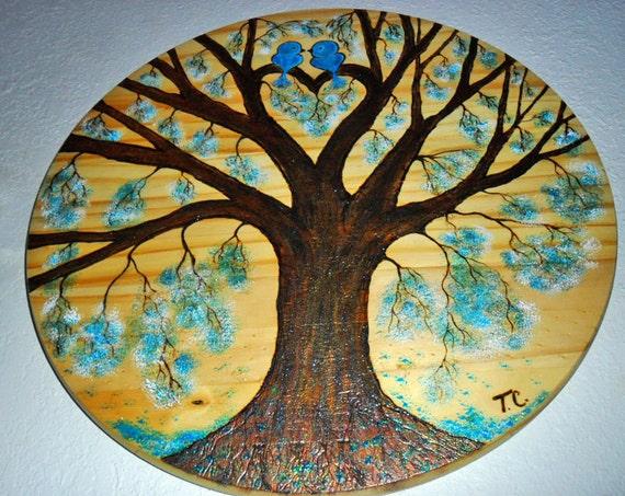 love bird painting love bird wall art heart tree tree bark