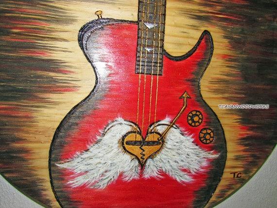 Bass Guitar Art Red Painting