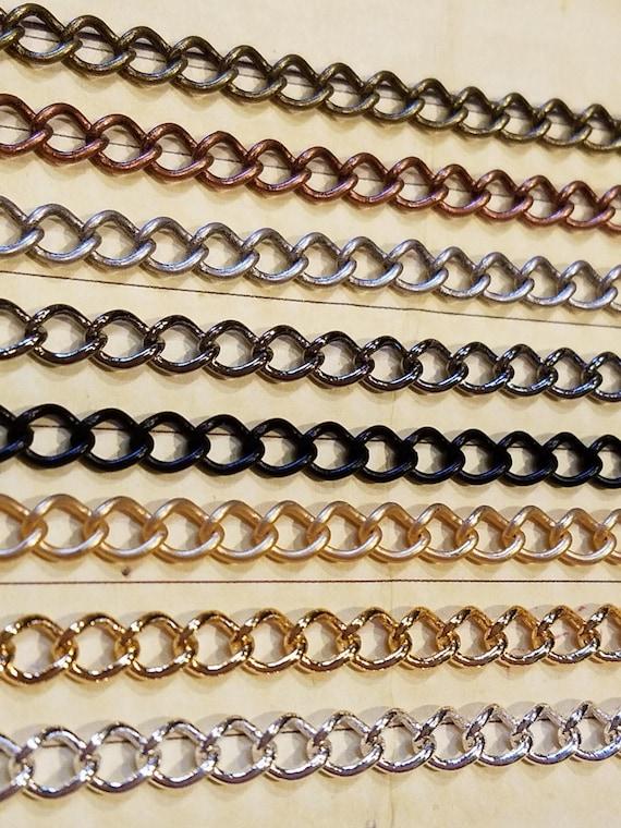 Bulk Spool 30 Feet Curb Chain 2.2mm x 3mm Twisted Link Black
