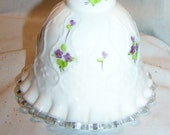 Artist Signed Fenton Silvercrest White Spanish Lace Violets in Snow Bell