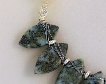 Moss Agate and Smokey Quartz Necklace