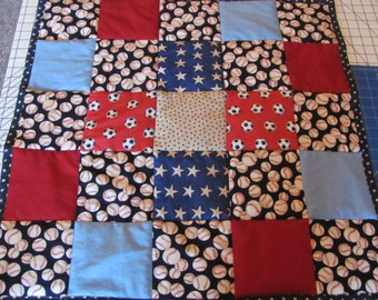 sports fabric lap quilt and tote set
