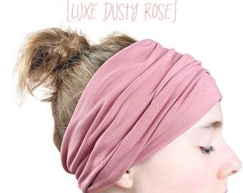 luxe dusty rose wide headband for women, yoga head wrap, scrunch head band