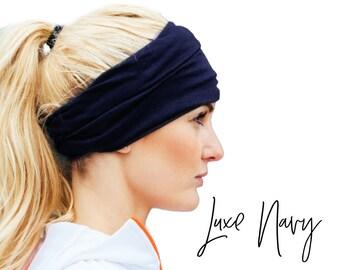 Navy Extra Wide Head wrap for Women, Double Layer Scrunch Headband, Yoga Headband, Boho Headband, Running Headband
