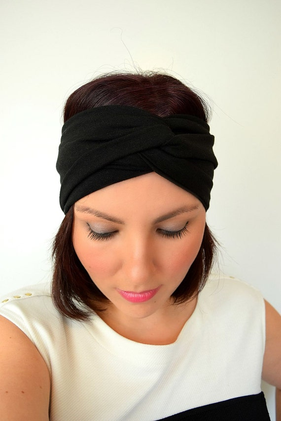 Black Turban Headband - Wide Twist Headband - Boho Yoga Headband Headwrap aae5a6fc118
