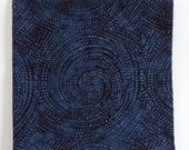 Once In A Blue Moon Bandana, 22 quot Square Head Wrap, Navy Cotton Batik, Swirling Night Sky Scarf, Dotty Spirals, Milky Way, Space Traveler