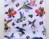 Hummingbird Bandana, Summer Head Wrap, Travel, Gardening, 22 quot Square, Headband, Cotton Print Fabric, Garden Weddings