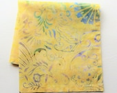 Canary Yellow Cotton Batik Hankies, Flower Scrolls, 12 quot Square, Handmade Handkerchief, Gifts For Women