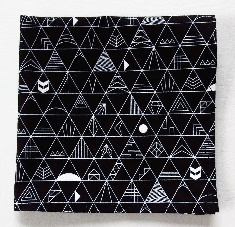 8be21e4277d6 Black and White Pocket Squares, Triangles, Abstract, Astronomy, Weddings,  12