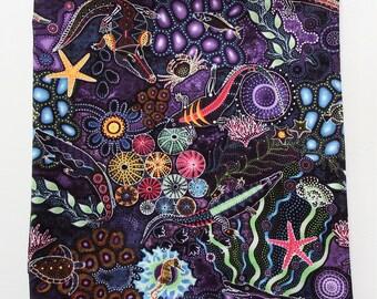 "Australian Print Bandana, Aboriginal, 22"" Square Cotton Scarf, Starfish, Seahorses, Alligators, Turtles, Oasis Fabrics, Shells, Down Under"