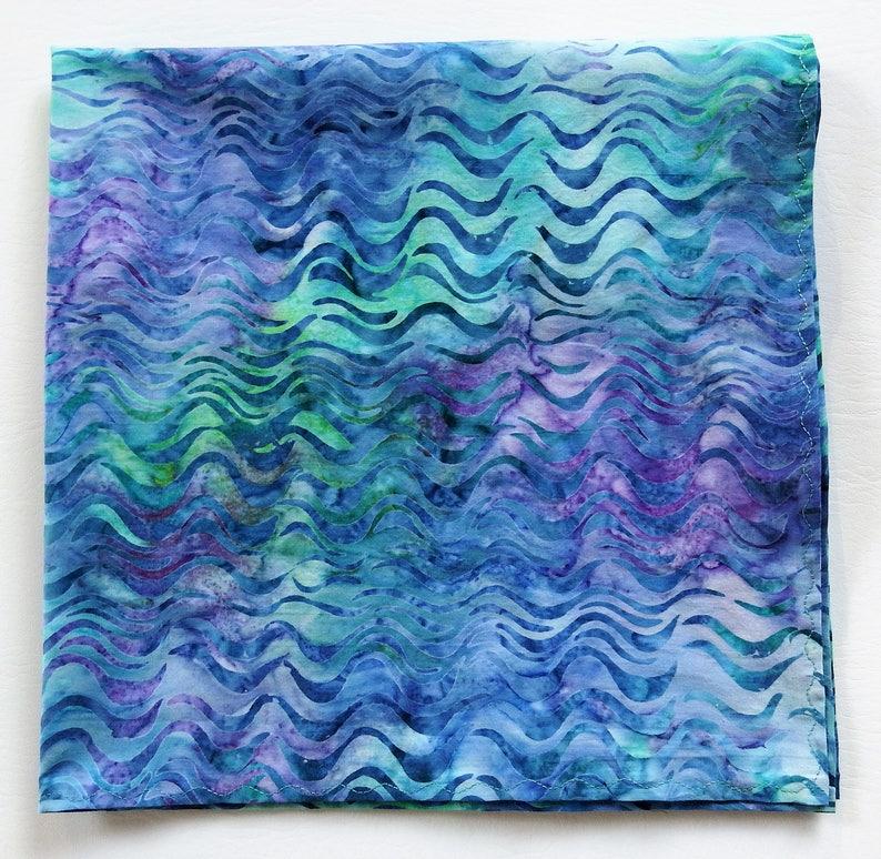 26ca3f0ecf2 Ocean Waves Bandana 22 Square Batik Kerchief Unique