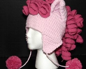 PATTERN - Pastel Pony Earflap Hat, Crochet, 5 Sizes