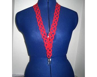 Hand Crocheted Landyard - Red Waves