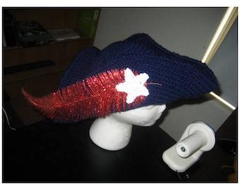 Crocheted Tricorn Patriot or Buccaneer Hat PATTERN