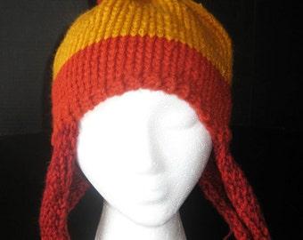 Not-Jayne Hat, Knit Earflap Hat with Pom-Pom