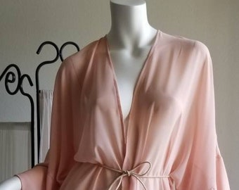 c820f39231 Swimsuit Cover up Women Blush Pink Chiffon Pastel Caftan Beach Sheer Kimono