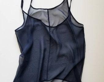 Navy Silk Tank Top Blouse Sheer Chiffon Indigo Blue Handmade Solid Wide Razorback