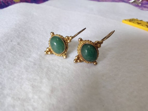 Antique Art Nouveau Jade Vermeil Drop earrings