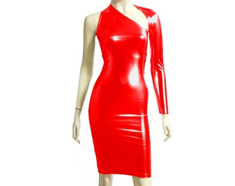 5fdc5636387 One Shoulder Dress Red Metallic Bodycon Pencil Backless Dress Long Sleeve Dress  Shiny Tube Dress Sexy Rave Outfit Fitted Party Dress