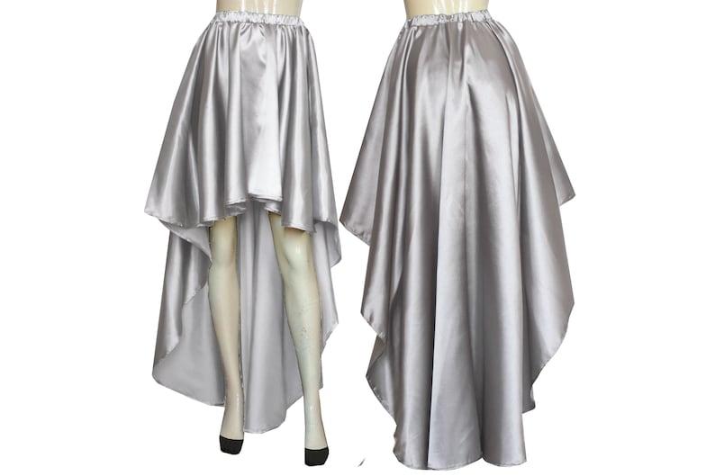 075598ead7b7 Wedding skirt Satin silver gray skirt High low bridesmaid
