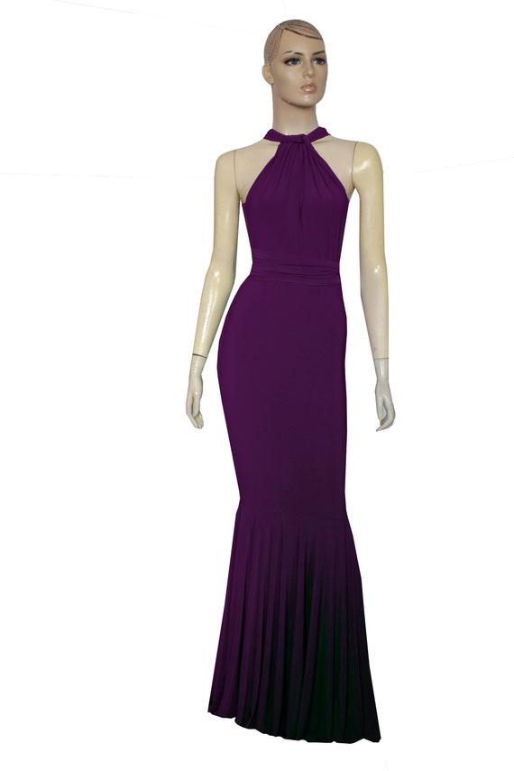 Mermaid Dress Infinity Dress Plum Bridesmaid Gown Multiway Convertible  Dress Plus Size Evening Gown Fishtail Formal Skirt XXS-5XL