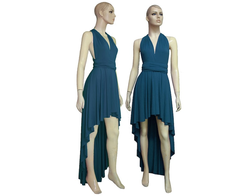 Teal Bridesmaid Dress Infinity High Low Dress Multiway Prom Gown Plus Size  Formal Dress Mother of the Bride Outfit Turquoise Dress XXS-5XL