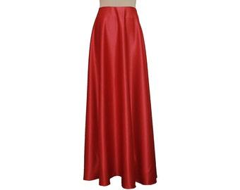 Maxi skirt Red formal plus size long skirt Evening duchess floor length skirt 0X 1X 2X 3X