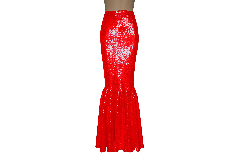 74043bd7df Sequin Formal Skirt Red Mermaid Bottoms Bridesmaid Fishtail   Etsy