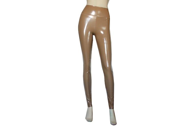 c3c67ba75e4fa3 Vinyl PVC Leggings Strumpfhose Beige schlanke Hose Nude Plus