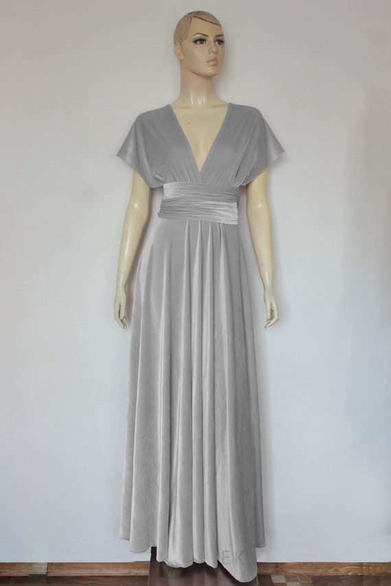 Velvet Wedding Dress Infinity Bridesmaid Gown Silver Gray Plus Size Dress  Long Maternity Dress Prom Convertible Gown Maid of Honor Outfit