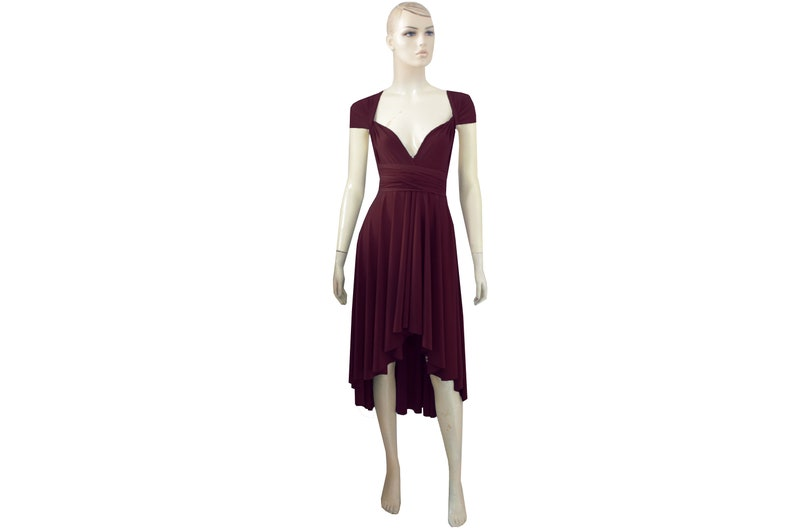Wine Colored High Low Bridesmaid Dresses