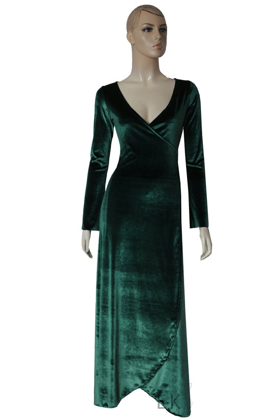Green Velvet Dress Wrap Bridesmaids Gown Plus Size Evening Dress Long  Sleeve Formal Gown Prom Convertible Dress Mother of Groom Gown XXS-5XL