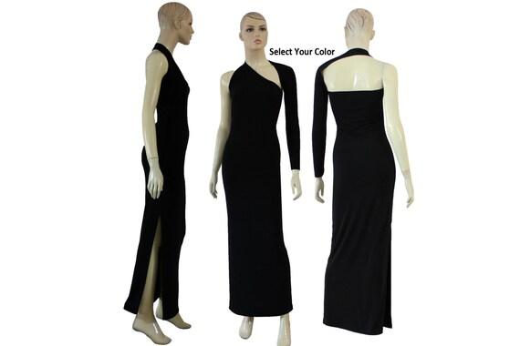 Backless Dress One Shoulder Dress Long Sleeve Prom Dress Etsy
