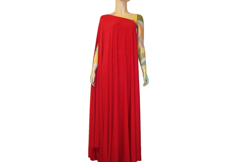 Plus size dress Long formal gown Red one shoulder evening dress Maid of  honor gown Baby Shower Dress Maternity Gown