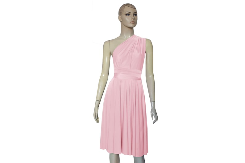 90299f0c567 Blush Bridesmaid Dress Infinity Short Dress Convertible Plus