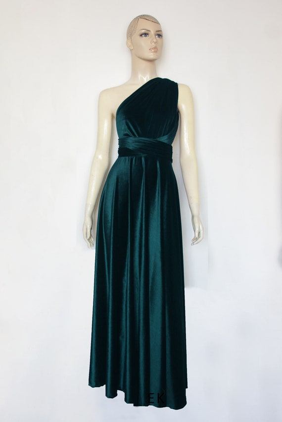 Teal Bridesmaid Dress Infinity Velvet Dress Plus Size Evening Dress Long  Prom Gown Formal Maternity Dress Maid of Honour Gown Multiway Dress