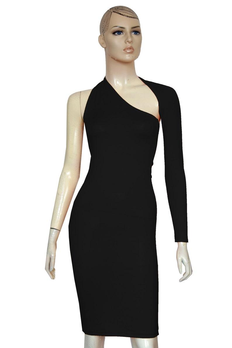 9be87f0d3538cc Backless jurk een schouder jurk lange mouw bodycon Goth jurk