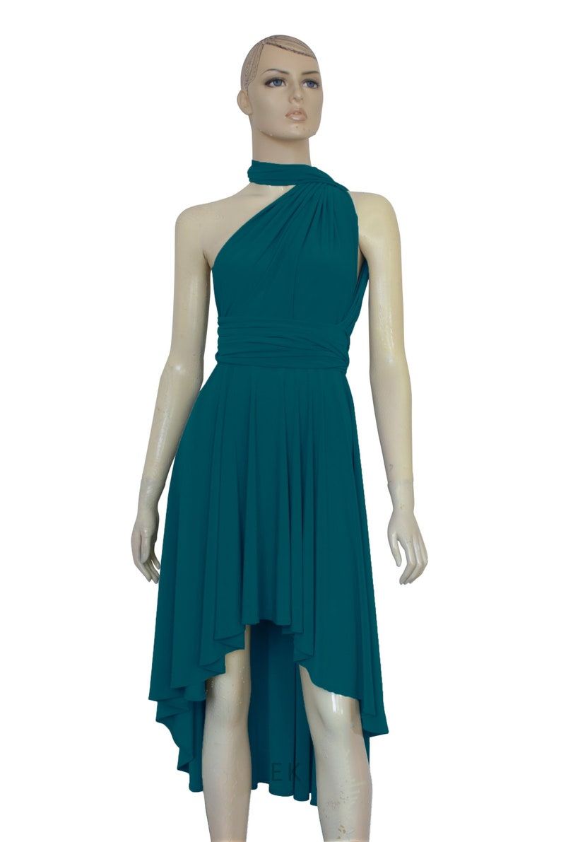 Teal Bridesmaid Dress Infinity High Low Dress Tea Length Prom Gown  Convertible Plus Size Dress Wrap Gown XXS XS S M L XL 1XL 2XL 3XL 4XL 5XL