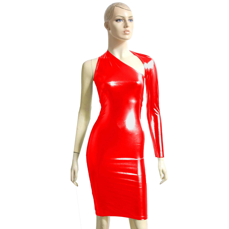 0ede943a1a435f Een schouder jurk rood Metallic Bodycon potlood Backless jurk