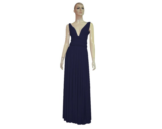 Navy Blue Bridesmaids Dress Infinity Maxi Dress Multi Wrap Convertible Gown  Plus Size Prom Dress Evening Outfit XS S M L XL 2XL 3XL 4XL 5XL