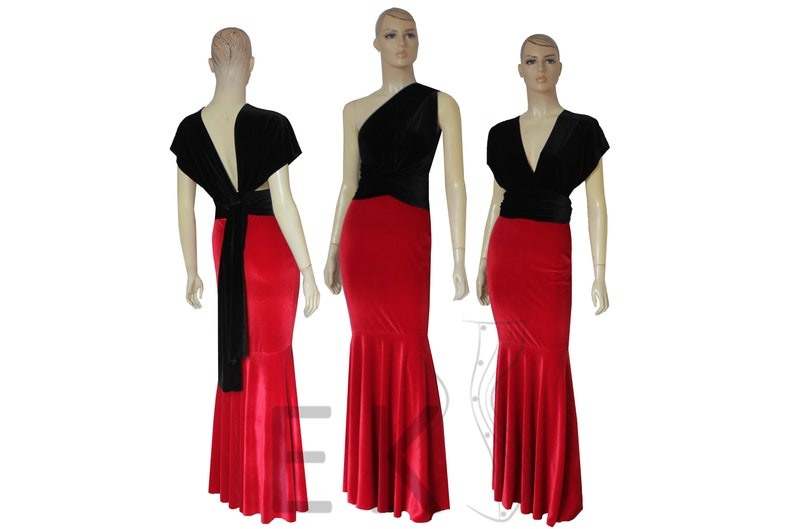 d4dd5d291b Two Tone Infinity Dress Bridesmaid Velvet Gown Mermaid
