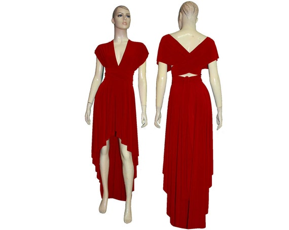 Convertible Bridesmaid Dress Red Infinity Dress High Low Prom Gown Multiway  Dress Plus Size Evening Gown Mother of the Groom Dress XXS-5XL